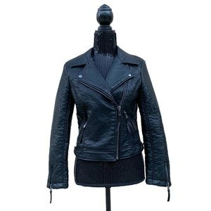 Topshop Faux Leather Moto Zip Jacket
